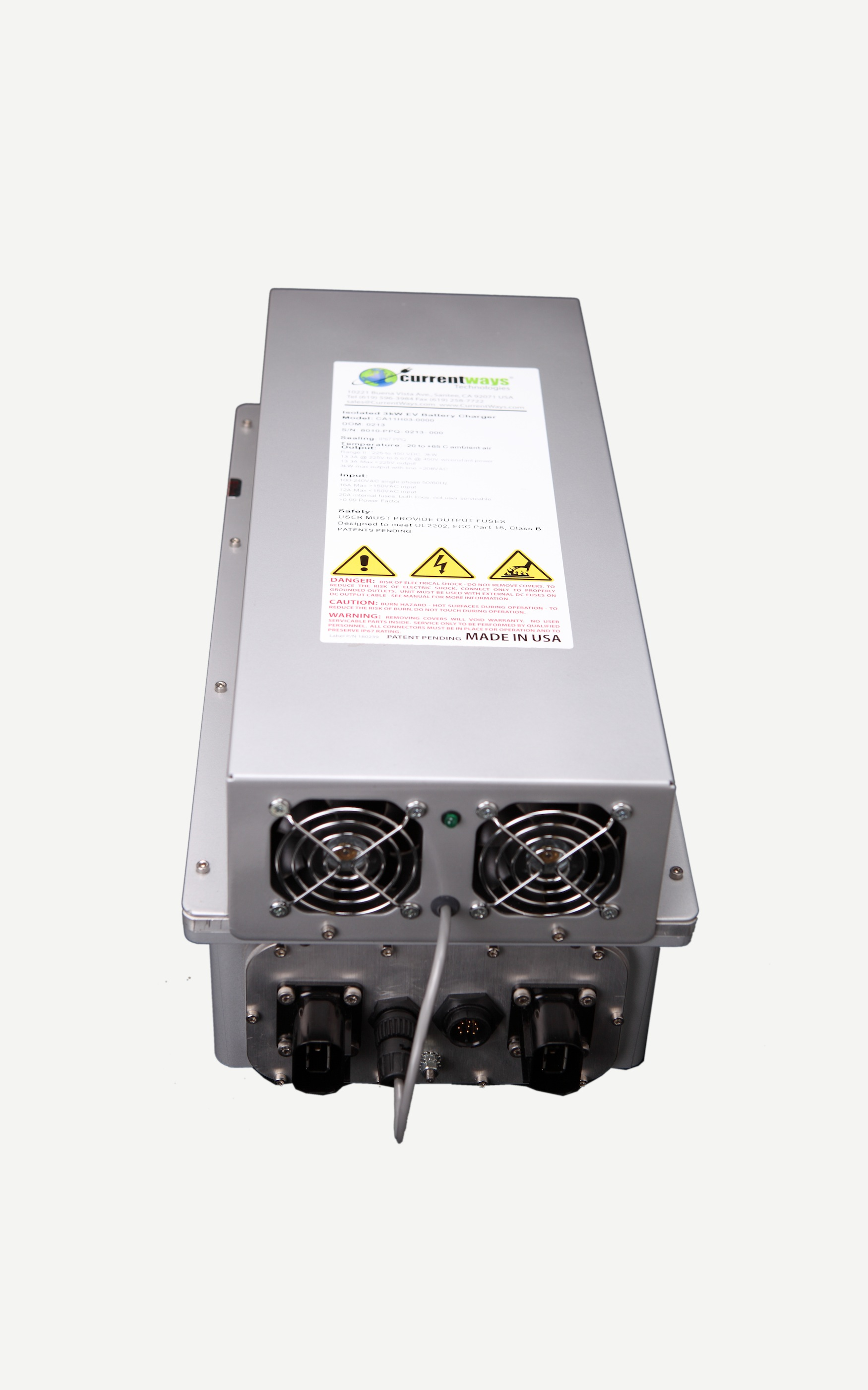 3kW Air-Cooled EV Battery Charger (112-225VDC) - Request an Online Quote